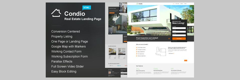 condio real estate one page landing page html