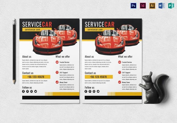 creative car service flyer template