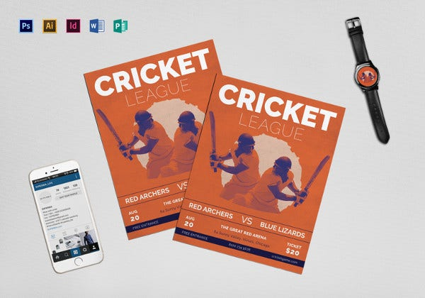 cricket-league-flyer-template