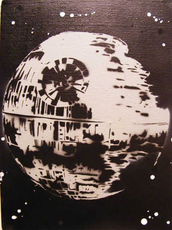 death star spray paint stencil art