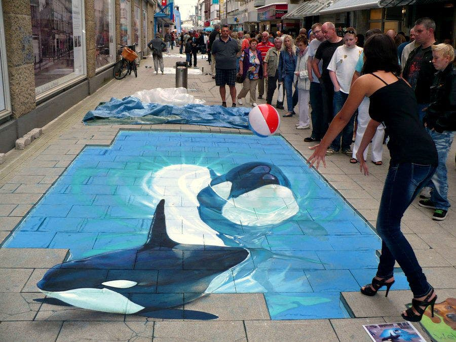 dolphin in water 3d street art painting 2 copy