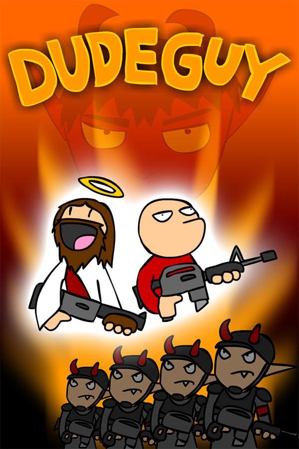 Dudeguy video game flyer