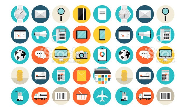 e commerce and shopping flat icons