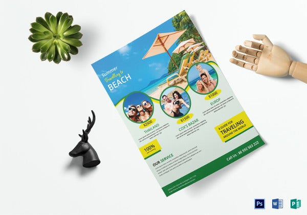 easy to edit travel flyer in psd