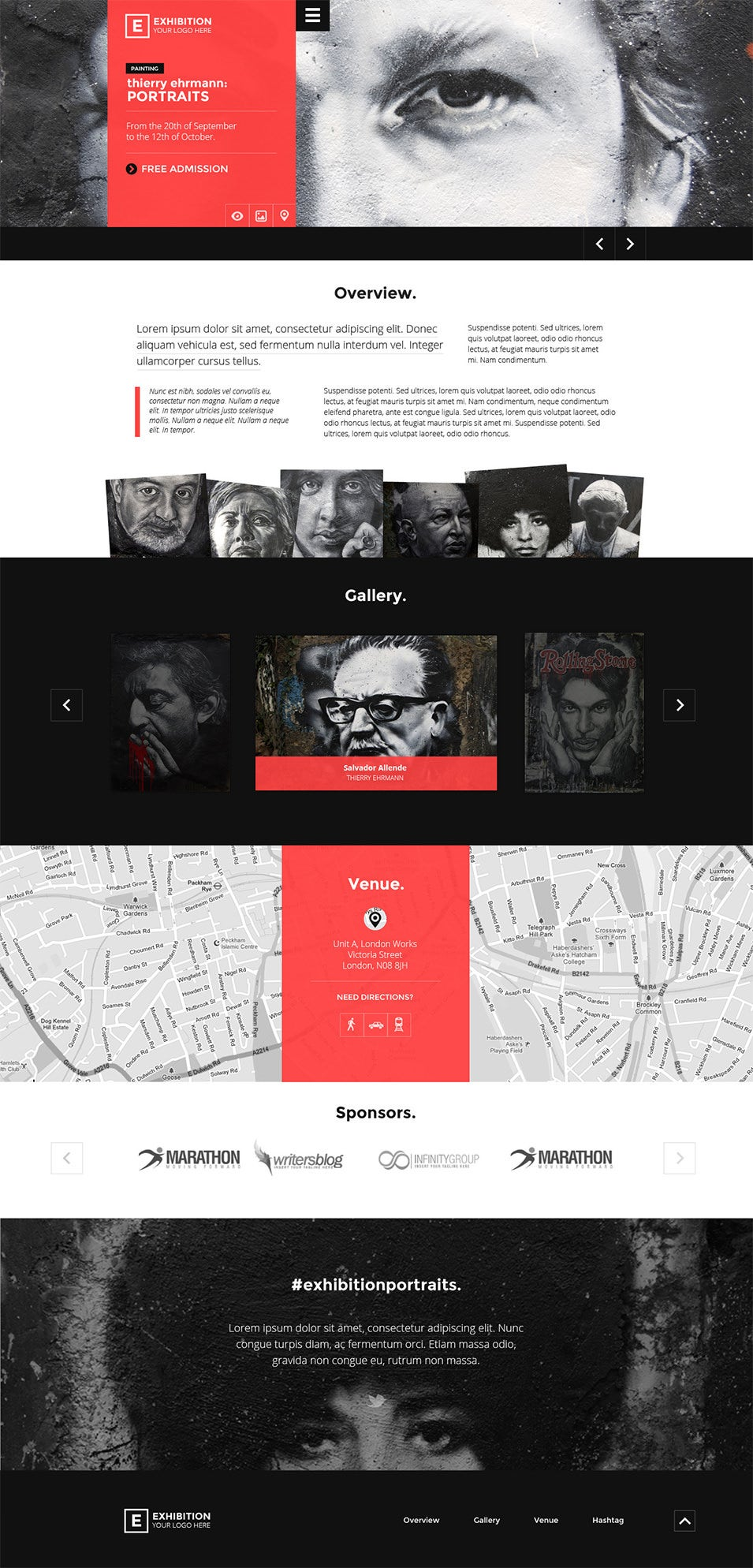 exhibition art gallery museum psd landing page