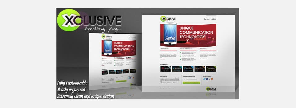 free xclusive landing page psd template