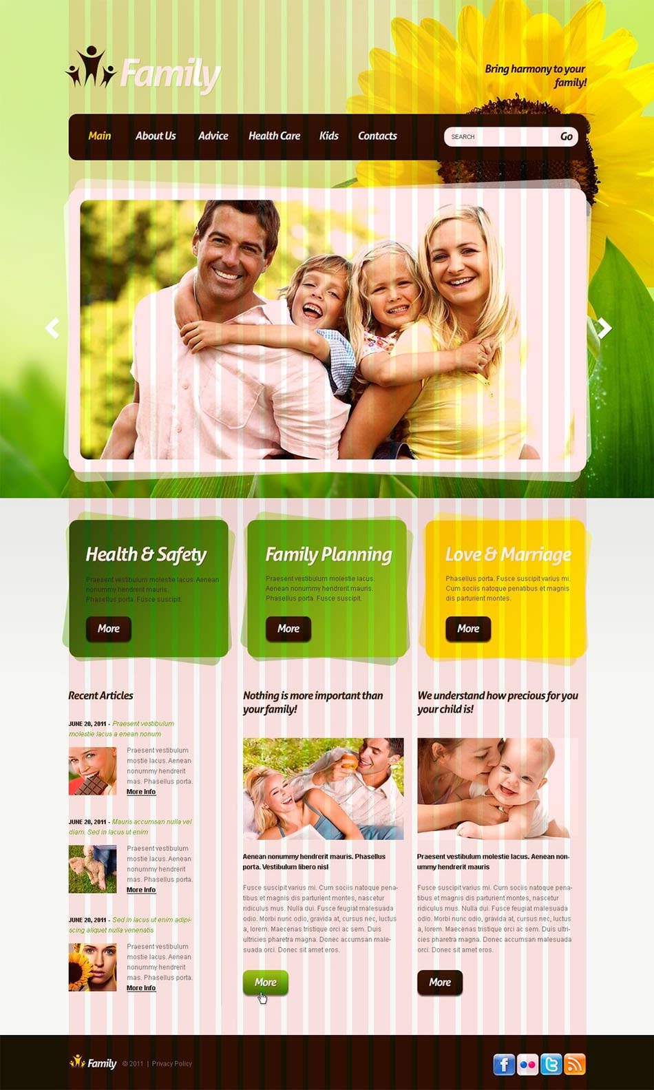 family center psd template