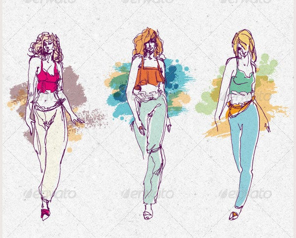 fashion show girls vector stylish sketches