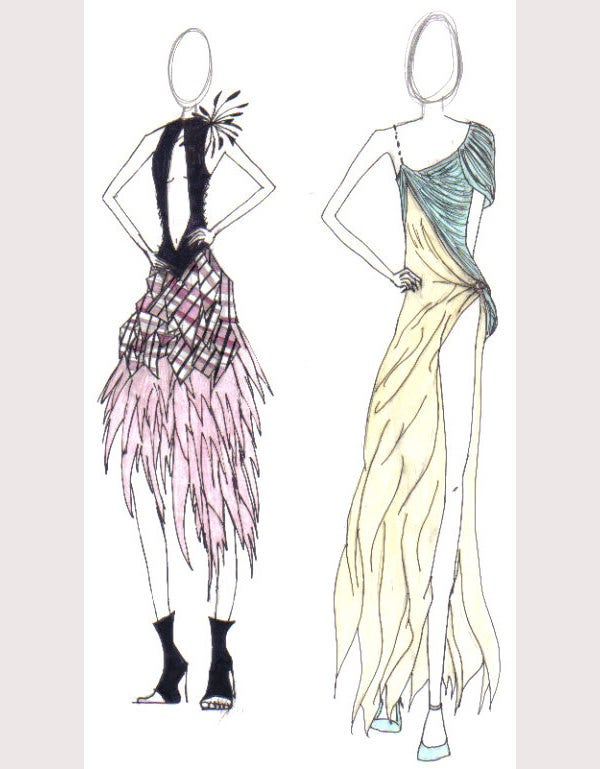As Clear From The Name Fashion Sketches For Dress Designing Are Lovely Of Fashionable Dresses That Come In Dark Colors With Beautiful Art Patterns