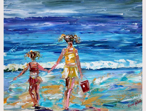 fine art print beach babes from past oil painting