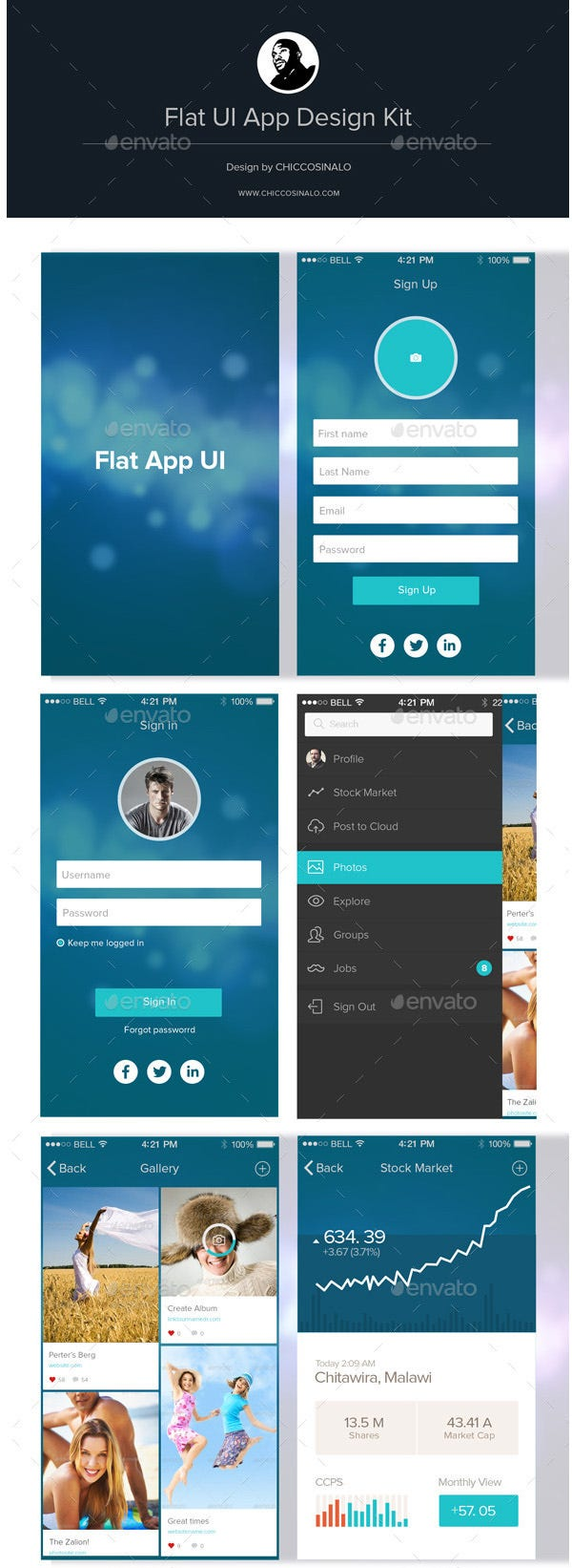 flat app ui design kit