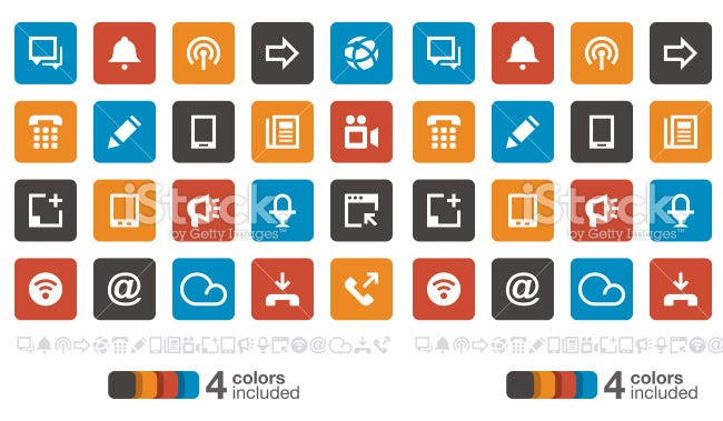 flat communication ui icons