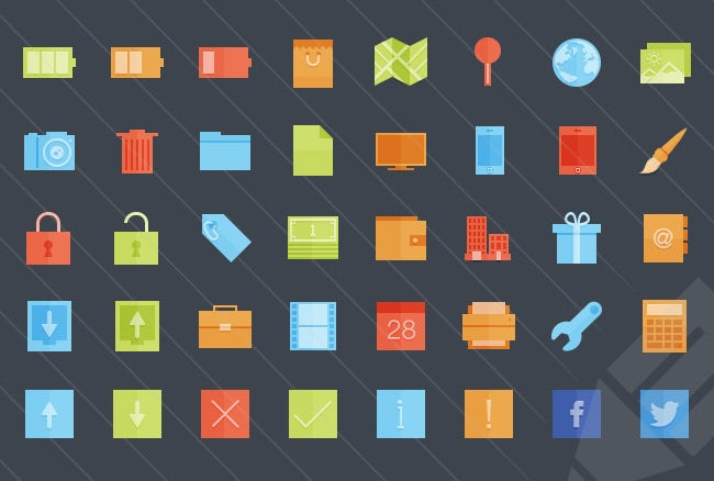 flat geometric color icons