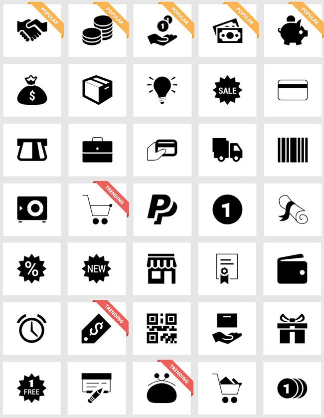 flat shopping ui icons pack