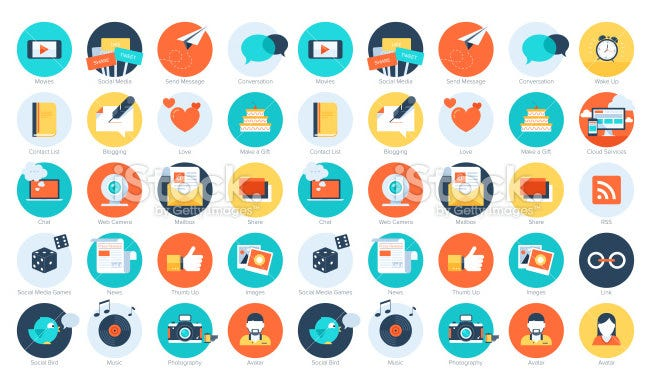 flat social media ui icons