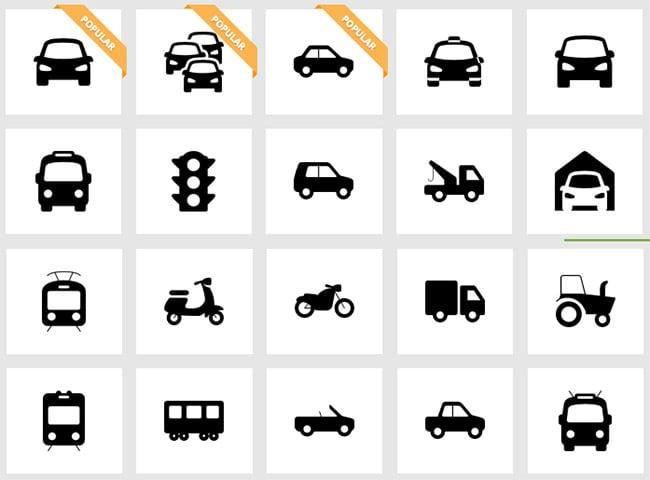 flat transport icons ui