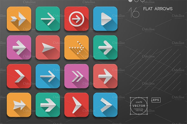 flat ui arrows icons design