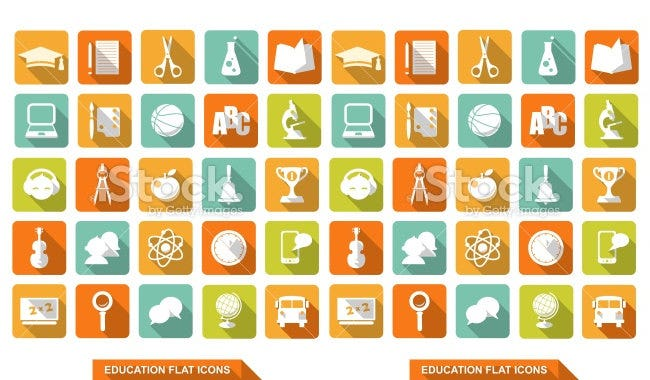 flat education icons pack