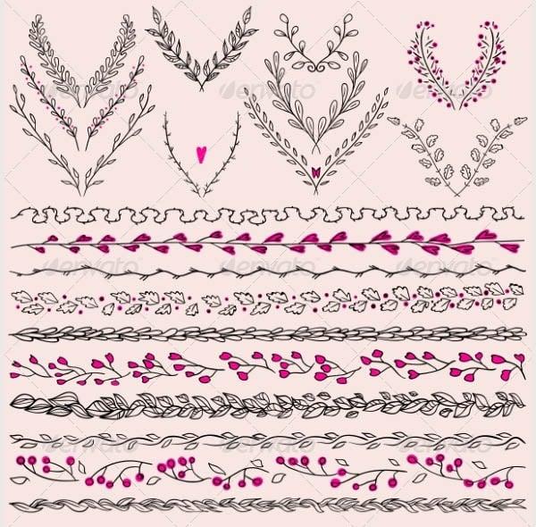 floral design elements and lines border