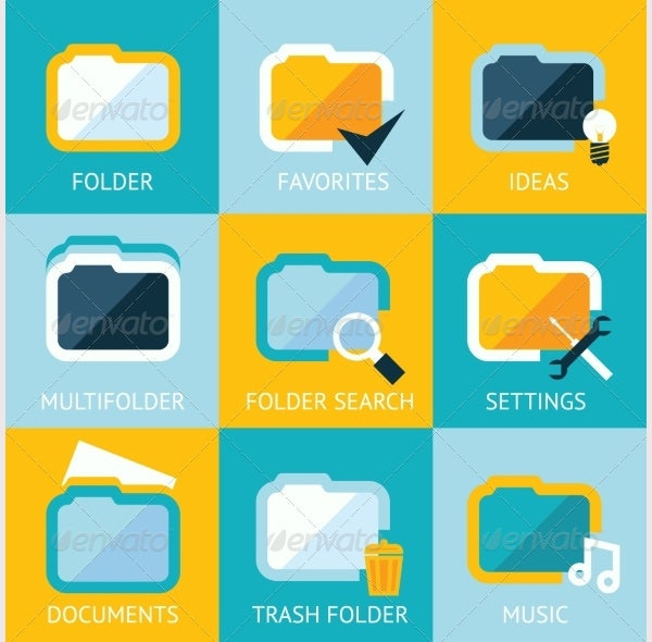 folder icons set favorites settings music ideas se
