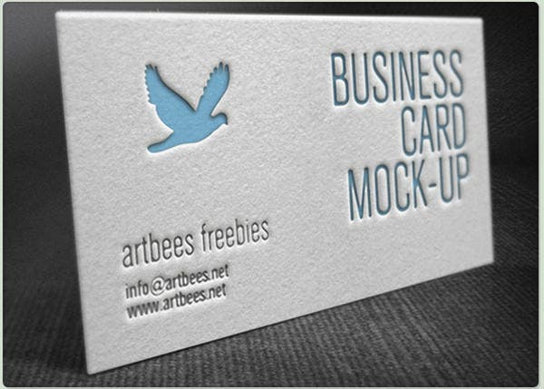 Elegant Free Letterpress Business Card Mockup