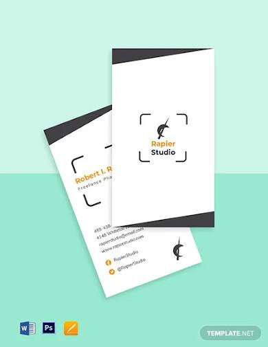 freelance photographer business card template