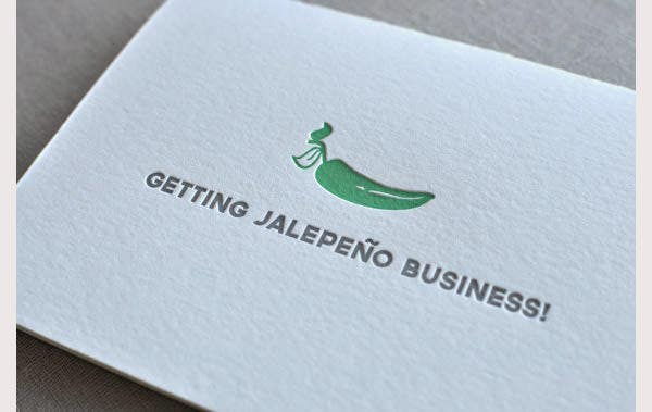 42 affordable letterpress business card free premium templates getting jalepeno business punny food letterpress greeting card reheart Image collections
