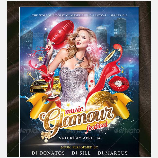 glamour music festival psd template