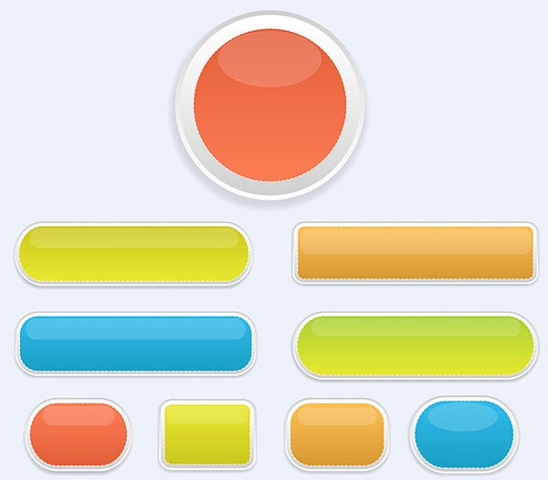 glossy colored buttons