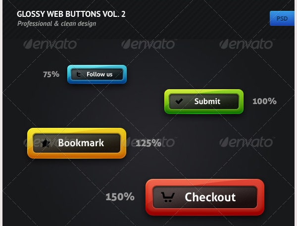 glossy web buttons vol