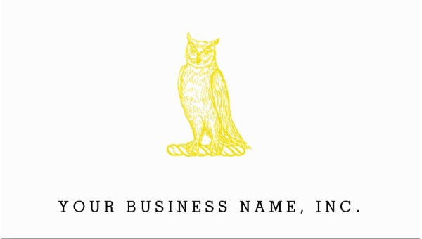 Golden Owl Crest Letterpress Style Business Cards
