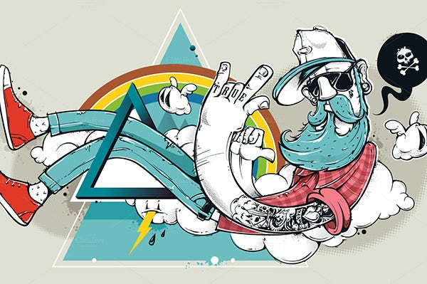 graffiti hipster illustration