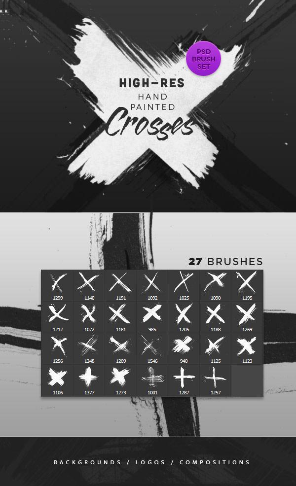 hand painted crosses brush set