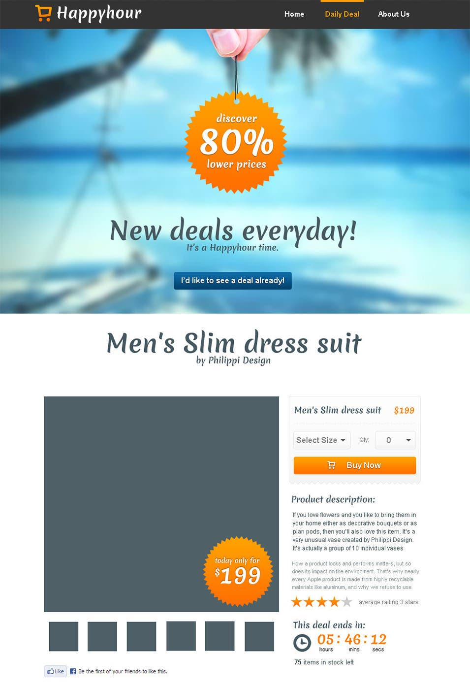 happyhour one page shopping product template