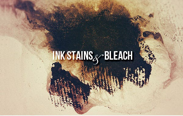 ink stains and bleach set