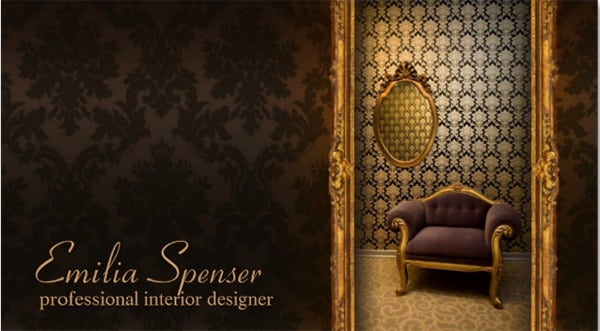Interior Designer Classic Style Chocolate Card Business Template