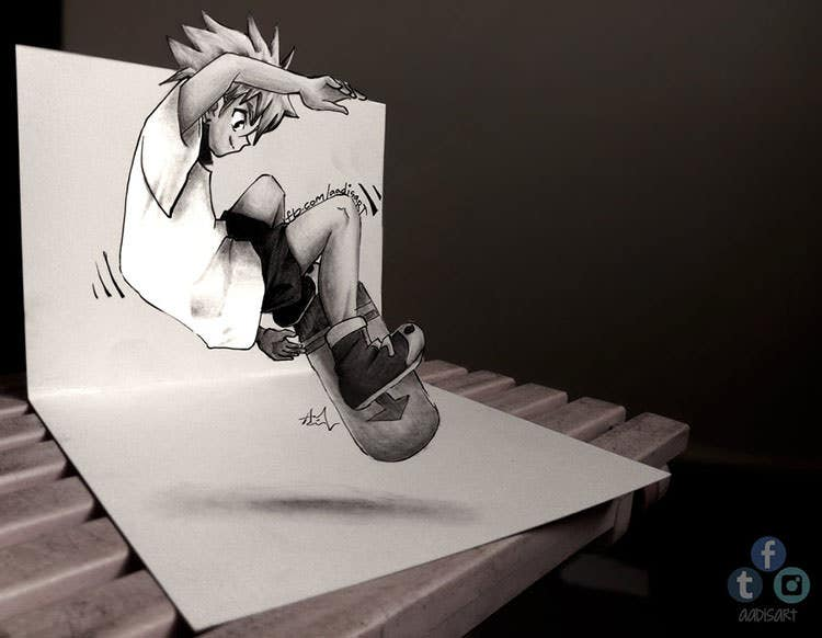 killua 3d drawing on paper