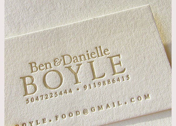 Letterpress Business Cards 1color
