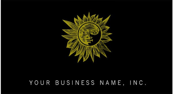 letterpress style sun business card template