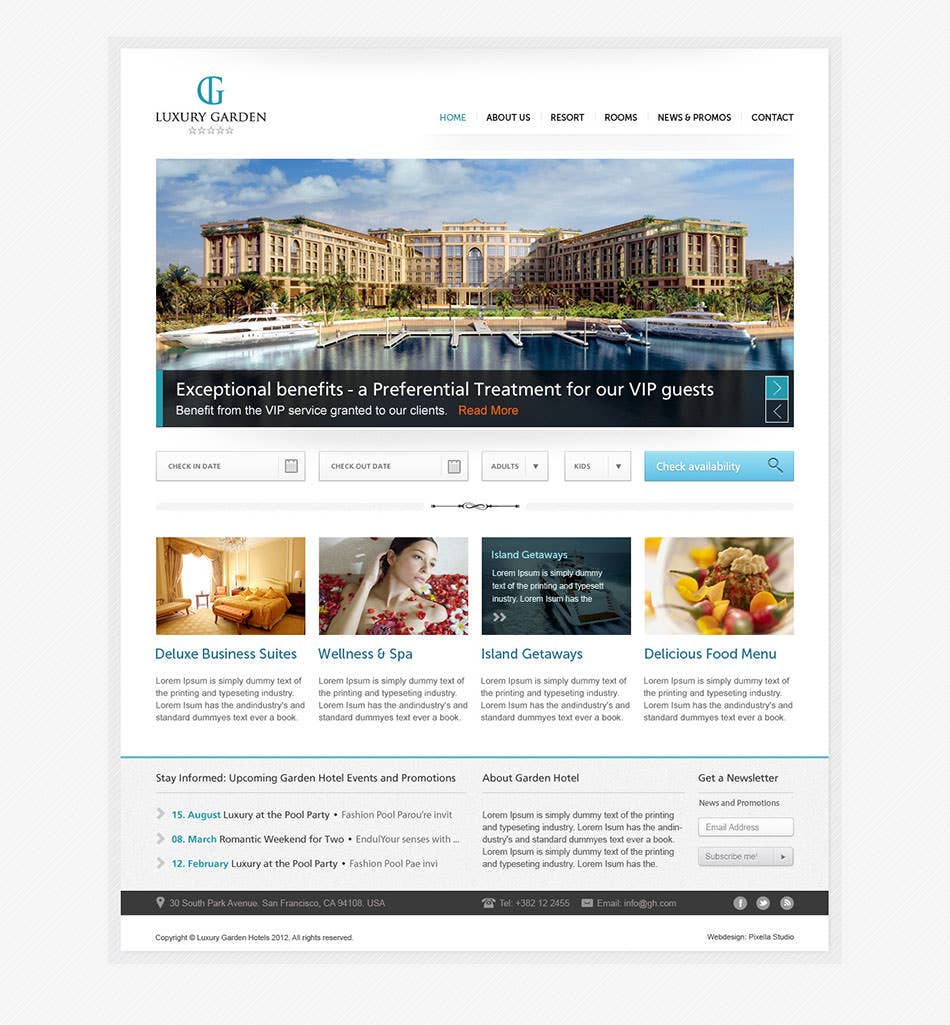 luxury garden hotel website psd template1