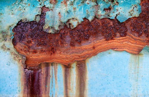 marbled rust on blue metal