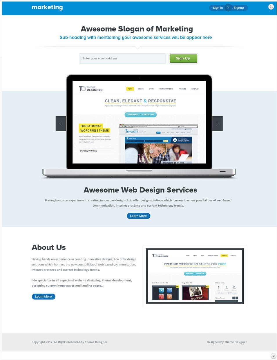 marketing landing page psd copy