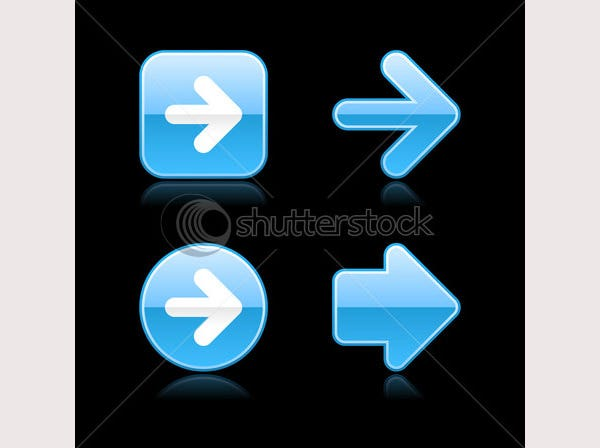 Metal glossy blue web 2.0 arrow button