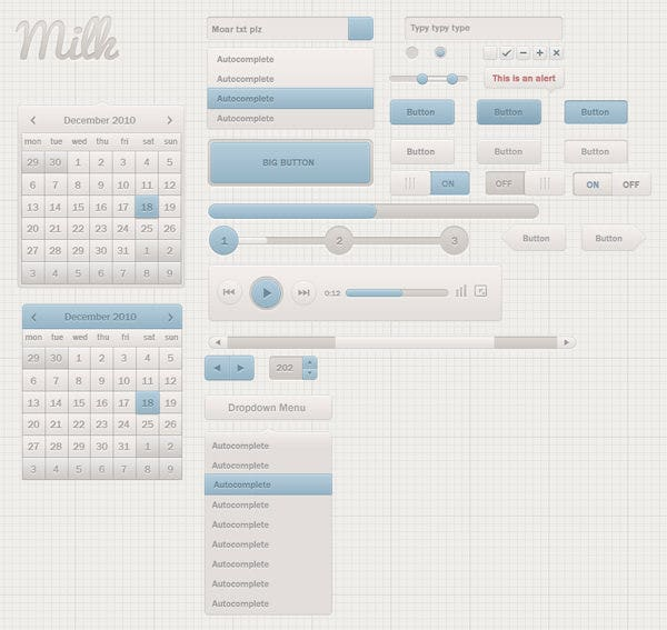 milk ui kit freebie
