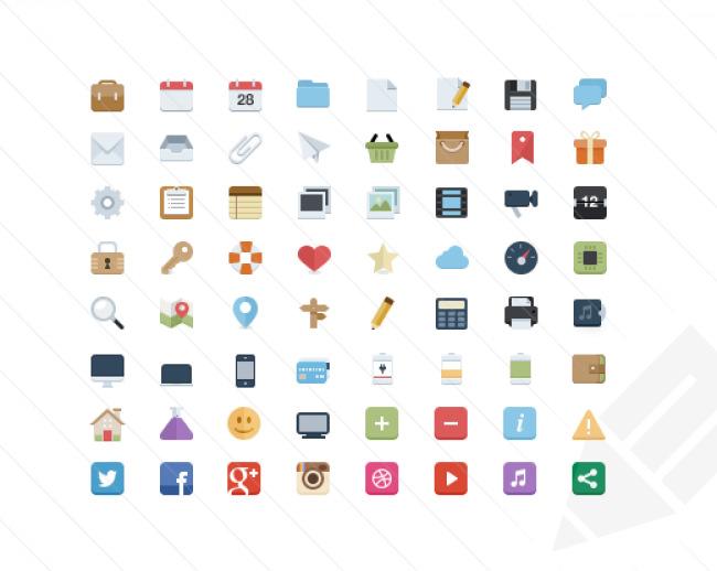 mini flat style icons