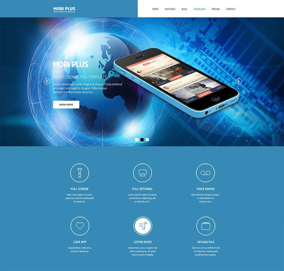mobi plus psd website template
