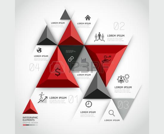 modern 3d infographics business triangle