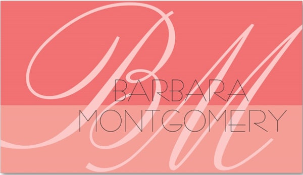 monogram stylist fashion designer business card