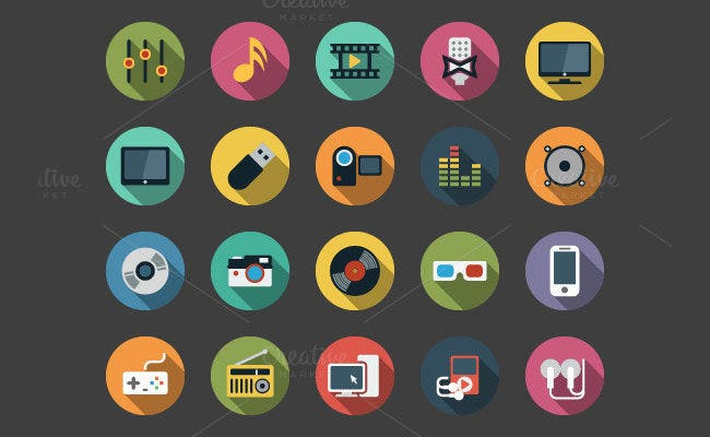 multimedia flat ui icons