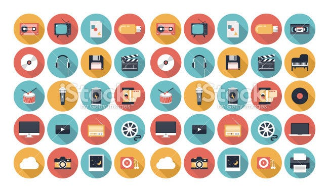 multimedia flat ui icons set